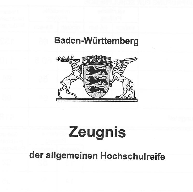 externes abitur baden-württemberg zeugnis